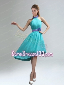 New Fashion High Neck Asymmetrical Multi-color Dama Dress