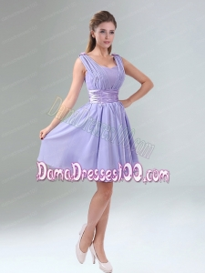 Perfect Straps Lavender Ruched Mini Length Dama Dress with Waistband