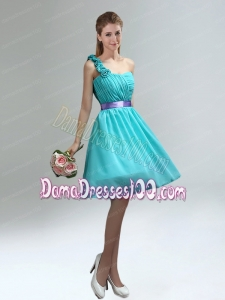 Unique One Shoulder Ruches Teal Dama Dresses with Belt