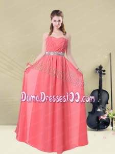 Brand New Strapless Beaded Dama Dresses Floor Length