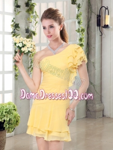 Flirting One Shoulder Cap Sleeve Dama Dresses Mini Length