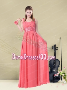 Super Hot Straps Floor Length Dama Dress with Belt