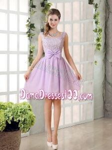 2015 Most Beautiful Chiffon A Line Dama Dress with Bowknot