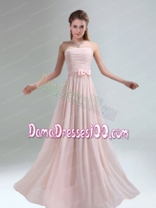 2015 Most Popular Light Pink Empire Dama Dress with Bowknot belt