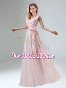 Fashionable Belt Ruching Chiffon Dama Dress with Bowknot