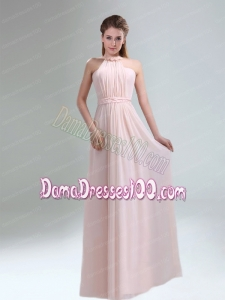 Romantic 2015 High Neck Chiffon Light Pink Dama Dress