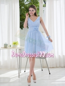 V Neck Chiffon Dama Dress with Ruching and Hand Made Flowers