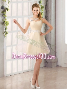 2015 Decent Straps Appliques Dama Dress with Mini Length