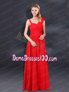 2015 Ruching Empire Dama Dresses with Asymmetrical