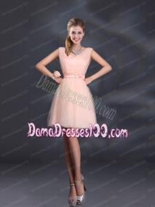 2015 Sweet Belt Mini Length Dama Dresses with V Neck