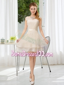 Bateau Belt Mini Length Dama Dress with Lace Up