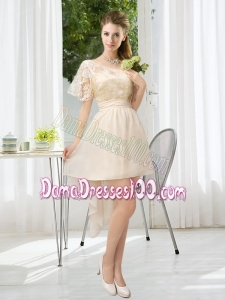 Lace High Low Short Sleeves Dama Dress with One Shoulder