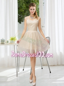 Straps Lace Sleeveless Dama Dress with Mini Length