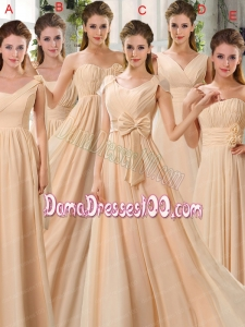 2015 Fashionable Champagne Ruching Chiffon Dama Dresses