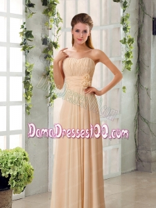Champagne Ruching Chiffon Dama Dresses with Sweetheart