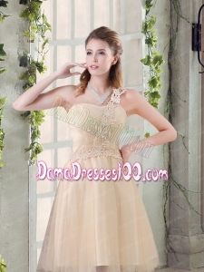 Popular A Line Appliques Dama Dress with One Shoulder