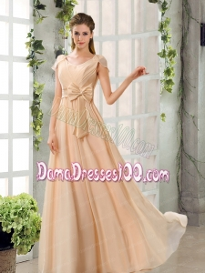 Scoop Ruching Cap Sleeves Chiffon Dama Dresses in Champagne