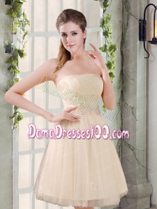 Strapless Appliques 2015 New Dama Dress in Champagne