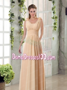 Straps Empire Ruching Hand Made Flowers 2015 Dama Dresses