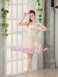 Sweetheart A Line Appliques Champagne Dama Dress for 2015
