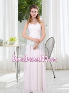 2015 White Empire Ruching Dama Dresses with Asymmetrical
