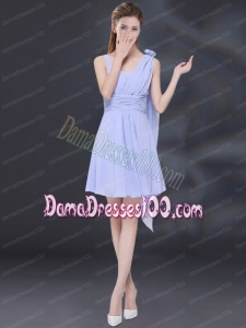 Chiffon Ruching 2015 Lavender Dama Dress with One Shoulder