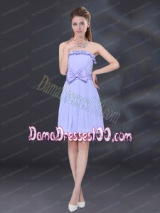 Lavender A Line Strapless Dama Dress with Bowknot