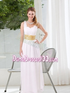 Natural White Empire Straps Ruching Dama Dresses
