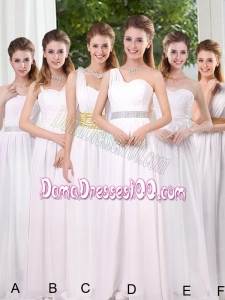 White Ruching Empire Dama Dresses for 2015