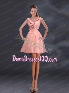2015 Pretty Appliques and Ruffles A Line Dama Dresses