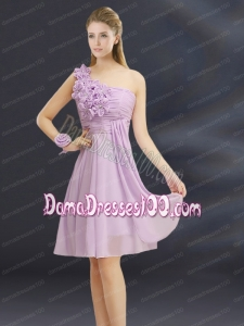 2015 Romantic Hand Made Flowers Sweetheart Dama Dress with Ruching