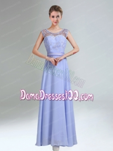 Lavender Scoop Belt and Lace Empire 2015 Dama Dress