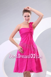 Hot Pink Hand Made Flowers Ruching One Shoulder Dama Dress
