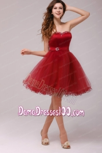 A-line Wine Red Sweetheart Beading Knee-length Dama Dress