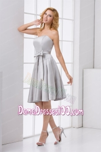 Cheap A-line Strapless Grey Mini-length Dama Dress with Bowknot