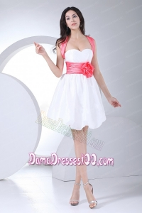 Hand Made Flowers Decorate Bodice Bowknot Mini-length White Criss Cross Straps 2013 Dama Dress