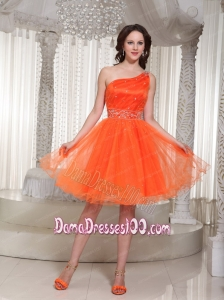 Lace-up Organza Orange Dama Dress With One Shoulder Beaded Drocrate In Summer