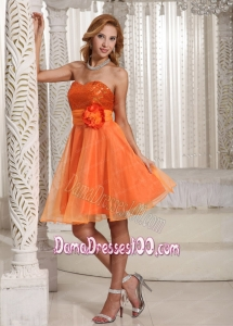 Organza Hand Made Flower Belt Beautiful Sequins Decorate Bust Dama Dress Orange
