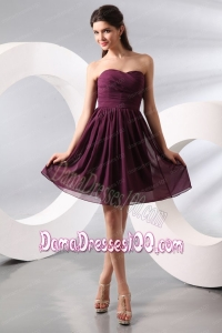 Purple Ruching Short Dama Dress with Knee-length
