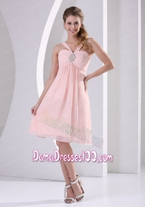 Baby Pink Straps V-neck Empire Knee-length Short Dama Dress With Beading Chiffon