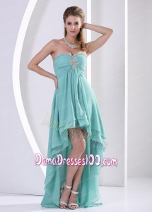 Custom Made High-low Dama Dress With Sweetheart Turquoise Beading and Ruch For Graduation