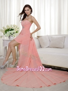 Peach Column / Sheath Sweetheart High-low Beading Dama Dress