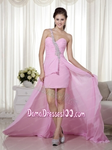 Pink Column / Sheath One Shoulder High-low Chiffon Beading Dama Dress