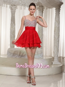 Red Chiffon Spaghetti Straps Beaded Bodice Mini-length Dama Dress