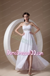 Simple White white Sweetheart Dama Dress Chiffon and Elastic Wove Satin
