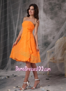 Sweet Orange Strapless Short Dama Dress Chiffon Handle Flowers Knee-length