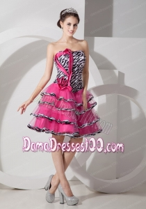 Sweet Zebra Print Strapless Short Dama Dress Mini-length