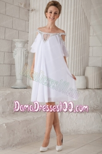 White Empire Off The Shoulder Knee-length Chiffon Beading Dama Dress