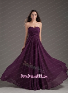 2015 Popular Dama Dress Sweetheart Empire Dark Purple Ruching Chiffon