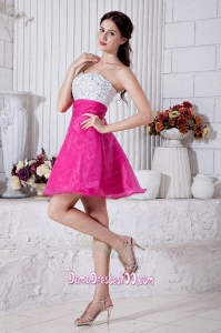 Hot Pink A-line Sweetheart Dama Dresses